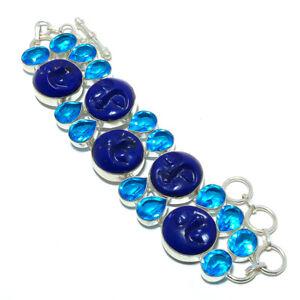 "Goddess Lapis Lazuli & Blue Topaz 925 Sterling Silver Ethnic Bracelet 7-7.99"" T8"
