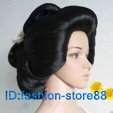 Hot!!! Black Geisha Wig Full Wigs Plate Hair Anime Wigs Cosplay Wig