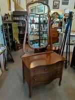 Vintage Antique Zeeland Mfg. Low Boy Oak 3 Drawer Dresser with Beveled Mirror