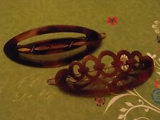 2 Vintage French Barrettes Faux Tortoise Shell Pierced approx 70 & 75 cm long