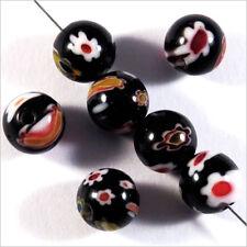 Lot de 10 Perles Millefiori en Verre 8mm Noir