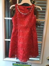 NWT My Michelle Red Lace Holiday Party Dress Empire Waist Sequins Beads Size 7