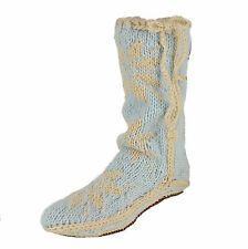 New Woolrich Womens Chalet Sock Slippers Twilight Hand Knit & Stitched Nordic M