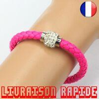 Bracelet Magnétique Boucle Strass Cuir Cadeau Luxe Bijoux Femme Fantaisie Mode