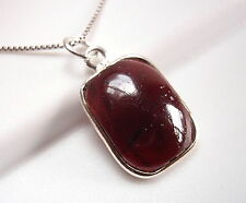 Red Garnet Necklace Basic Rectangle 925 Sterling Silver Imported from India New