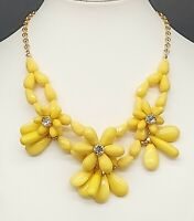 Vintage Yellow Lucite Bib Statement/ Flowers /Rhinestone Centers/Choker/Necklace