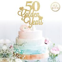 50th wedding anniversary cake topper golden years Glitter fifty customised