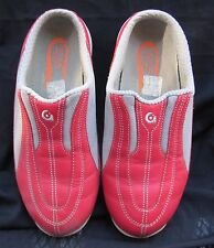"""GRAVIS"" Cabrio Slide on Mules Red Leather/Gray Fabric Detail US 10M /Euro 41M"