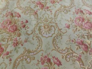 French 19th Century Hand Printed Wallpaper Soft Green, Gold, Pink, Sold Per Yard