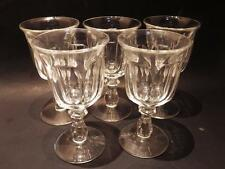 """(5) Heisey Colonial Clear Goblet Water  6.75"""" H Perfect (Stem #373-341)"""