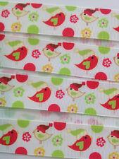 "Christmas Birds 7/8"" Printed Grosgrain Christmas Ribbon 1m"