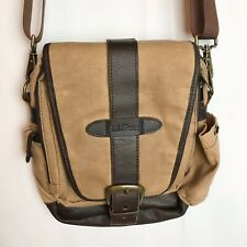 LL Bean Leather Tan Khaki Waxed Canvas Field Messenger Bag Shoulder Satchel