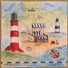 2 single paper napkins for Decoupage Crafts or Collection Lighthouse Beach Sea