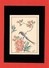 Dessin encre de chine & aquarelle Japon Hand made china ink signé Geneviève n40