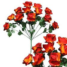 "12 Flame Roses 20""Bouquet Wedding Bridal Party Home Decor Artificial Silk Flower"