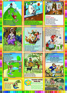 Nursery RHYMES A2 laminated kids children educational school wall chart Poster