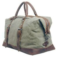 Men Retro Vintage cow Leather canvas duffle weekend bag lightweight luggage bags