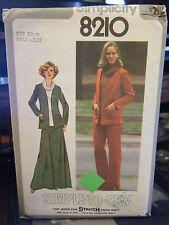 Simplicity 8210 Half-Size Pants, Skirt, Jacket & Cowl NeckTop Pattern -Sz 20 1/2