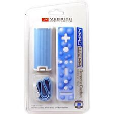 Blue Battery Door Cover Lid + Sticker + Strap for Nintendo Wii Remote Rubberized