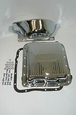 Chrome 700R4 700-R4 Transmission Pan & Flexplate Cover Kit W/ Bolts & Gasket V8