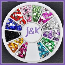 12 Colors Heart Crystal Nail Art Decoration Glitter Rhinestones + Wheel ND0018