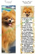 POMERANIAN BOOKMARK FUN DOG RULES Property LAW Fawn ART Book Mark Card Figurine