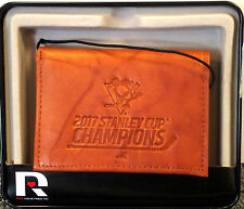 Pittsburgh Penguins 2017 Champions Wallet Premium Brown LEATHER TriFold Hockey