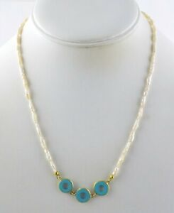 750 18k Yellow Gold Baroque Pearl and Turquoise Strand Necklace 18.25 Inch 6.4g