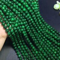"diy 8 mm green jade gemstone round loose beads 15"" strand AAA"