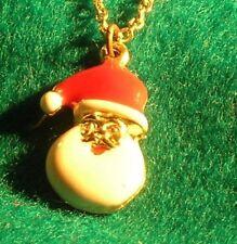 "Vintage Metal & Enamel 13/16"" Santa Claus Pendant with 16"" gold tone chain"
