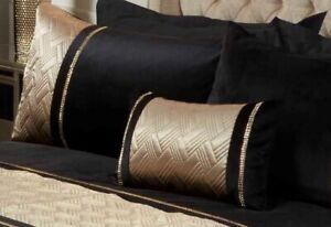 Bedding Heaven® LUXURY BLACK/GOLD SEQUIN EMBELLISHED VELVET DUVET COVER - CAPRI