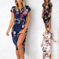 Women Boho Floral Long Maxi Dress Cocktail Party Evening Beach Sundress HELLO