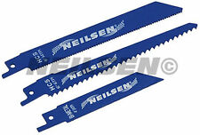 Pack of 3 Reciprocating Power Saw Blades  (steel wood and plastic)