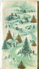 New listing VINTAGE CHRISTMAS WHITE GOLD GREEN VILLAGE TREE SNOWMAN ICE SKATING GLITTER CARD