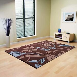 Infinite Damask Rugs Handmade Luxurious Contemporary Pile Carpet in Brown Blue
