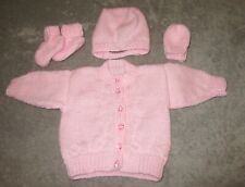 Hand knitted pink cardigan/hat/mittens & booties in pink 0 - 3 months baby girl