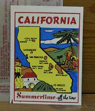 ORIGINAL VINTAGE TRAVEL DECAL CALIFORNIA MAP OLD CAR TRUCK LUGGAGE TRAILER RV