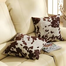 Cow Hide Print Pillow Decor Set of 2 Cushion home faux decorative sofa couch NEW