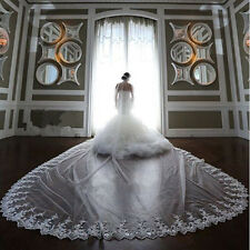 White/Ivory 1T Long Bridal Veil Cathedral Lace Purfles Wedding Veils With Comb