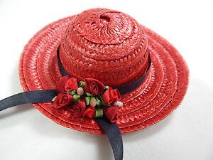 """Miniature Straw Hats 4"""" Mini Straw Hats  1 pcs Hand Made #Z154R-BK"""