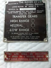LAND ROVER SERIES INFO PLATES