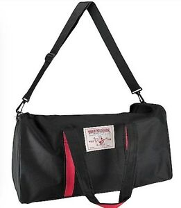 True RELIGION Black Red DUFFLE BAG Travel Athletic Sport Carry-On Gym