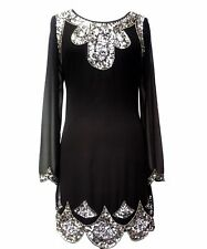 1920's Vtg Flapper Downton Gatsby Charleston Chiffon Sequin Dress Dress 8 - 24 Size 22 Black Long Sleeves