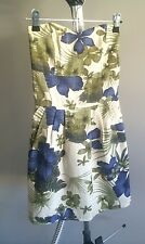 Floral Oasis Linen Strappless Short Dress Vintage S Xs 6 8