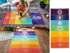 Rainbow Mandala Blanket Wall Hanging Tapestry Stripe Beach Towel Yoga Mat