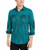 INC Mens Shirt Green Size Medium M Button Up Over Dye Moto Dual Pockets $65 #204