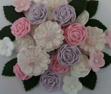 Pink lilac white sugarpaste flowers edible cake topper cupcakes