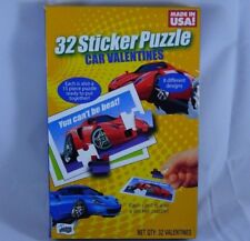 32 Count Sticker Puzzle Car & Truck Valentines Day Cards 8 Designs Classroom