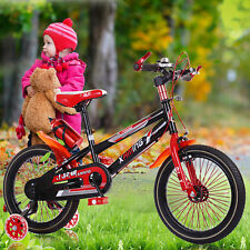 "Kids Youth Red BMX Bicycle w/Training Wheels 18"" Boys Girls Bike Bicycle Age 5-9"