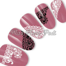 Nail Art Water Decals Stickers Transfers Black & White Lace Wedding Nails S038
